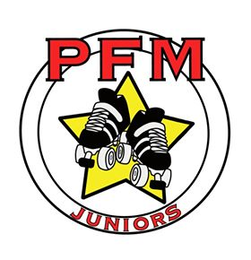 Logo for PFM Juniors, two circles with the red letters PFM Juniors on the outside and skates in a yellow star in the center.